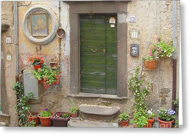 Old House Photographs Digital Art Greeting Cards - Porta e Fiori a Bracciano Greeting Card by Daniela Di Giuliomaria-Giangrande