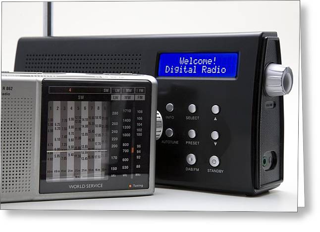 Amplitude Greeting Cards - Portable Analogue And Digital Radios Greeting Card by Sheila Terry