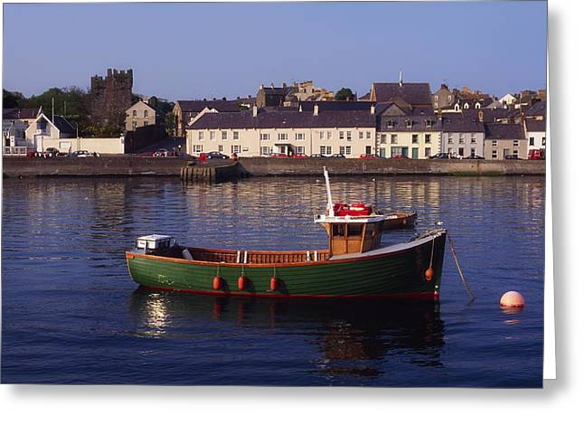 Boats In Harbor Greeting Cards - Portaferry, Strangford Lough, Ards Greeting Card by The Irish Image Collection