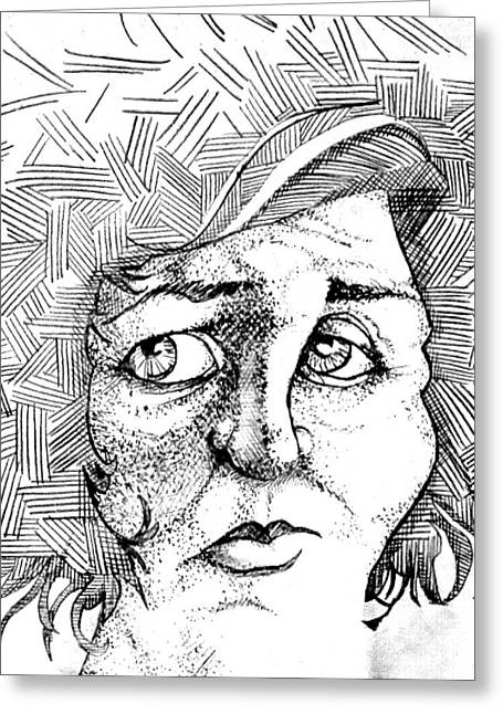 Crosshatching Greeting Cards - Portait of a Woman Greeting Card by Michelle Calkins