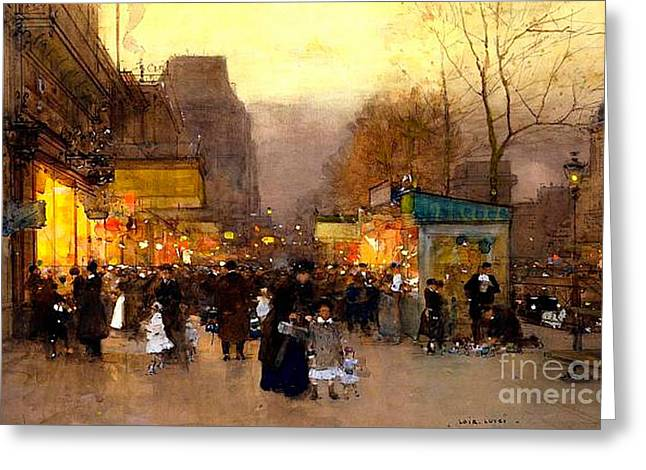 In The City Greeting Cards - Porte St Martin at Christmas Time in Paris Greeting Card by Luigi Loir