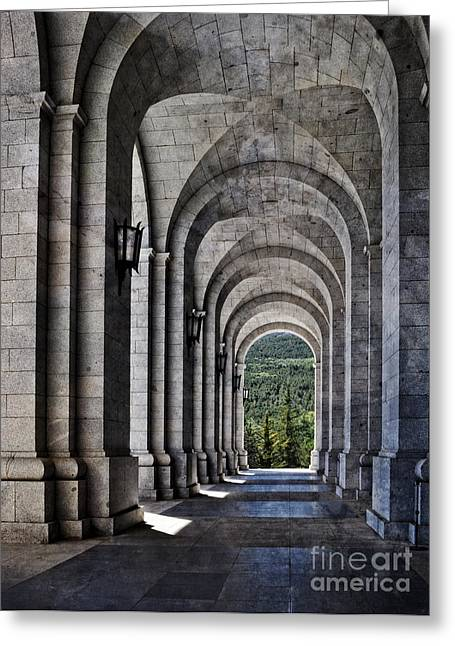 Honour Greeting Cards - Portico from the Valley of the Fallen Greeting Card by Mary Machare