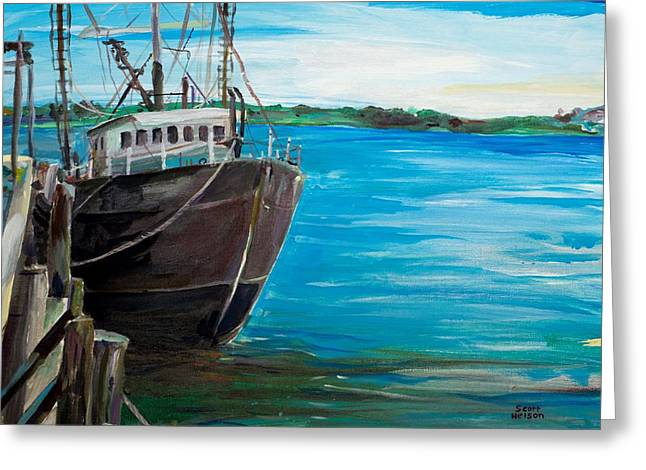 Scott Nelson And Son Paintings Greeting Cards - Portland Harbor - Home Again Greeting Card by Scott Nelson