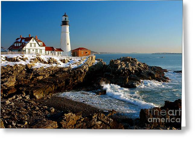 Portland Head Light Greeting Cards - Portland Head Light - lighthouse seascape landscape rocky coast Maine Greeting Card by Jon Holiday