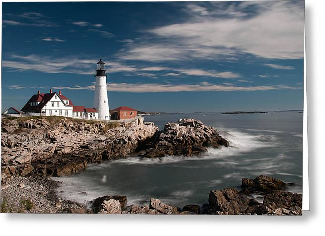 Portland Head Light 19482c Greeting Card by Guy Whiteley