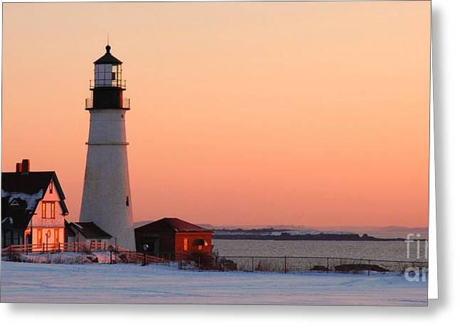 Award Greeting Cards - Portland Head Light at Dawn - lighthouse seascape landscape rocky coast Maine Greeting Card by Jon Holiday
