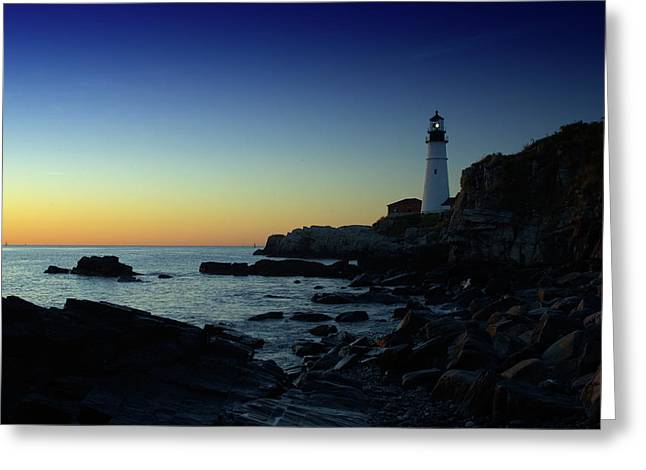 Coastal Maine Greeting Cards - Portland Head Light at Dawn Greeting Card by Rick Berk
