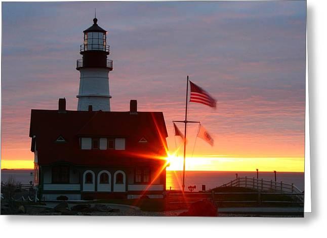 Portland Head Light At Sunrise Greeting Card by Rick  Blood