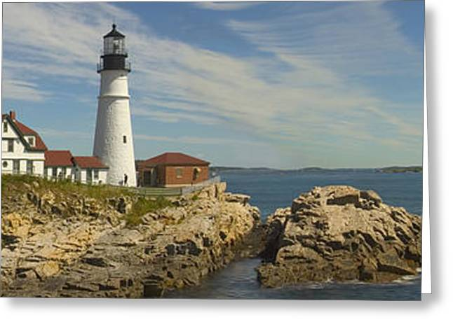 Portland Head Light Panorama  Greeting Card by Mike McGlothlen