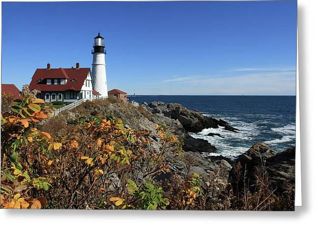Recently Sold -  - Coastal Maine Greeting Cards - Portland Head Lighthouse in the Fall Greeting Card by Lou Ford