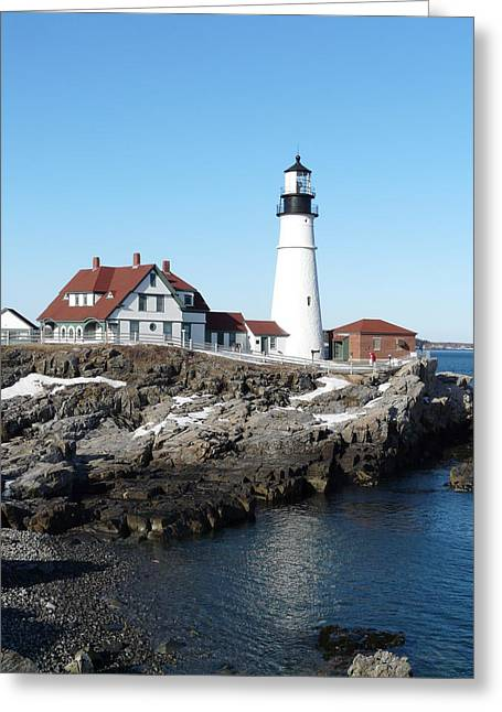 Maine Greeting Cards - Portland Head Lighthouse In Winter Greeting Card by Fred Nolan
