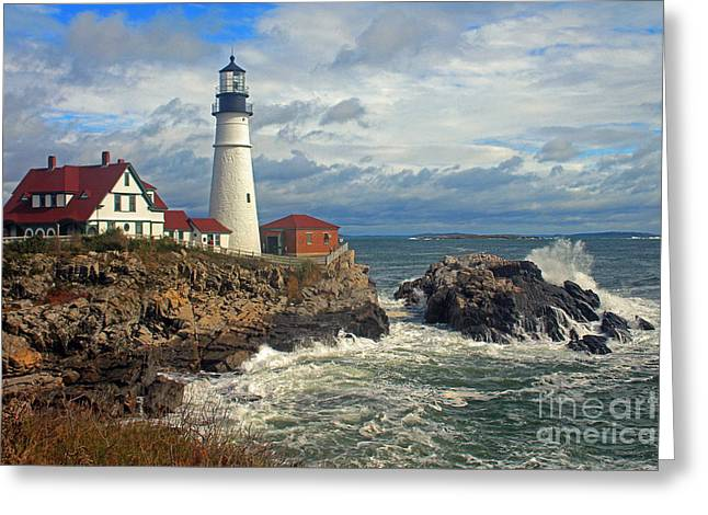Portland Head Lighthouse Greeting Card by Jeremy Dentremont
