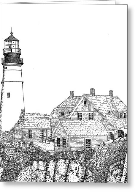 Maine Landscape Drawings Greeting Cards - Portland Head Lighthouse Greeting Card by Tim Murray
