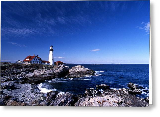 Maine Shore Greeting Cards - Portland Head Offshore Greeting Card by Skip Willits
