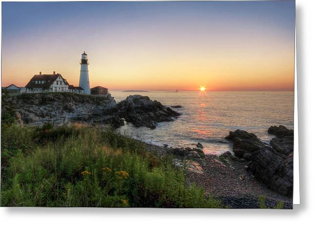 Portland Head Light Greeting Cards - Portland Head Sunrise Greeting Card by Lori Deiter