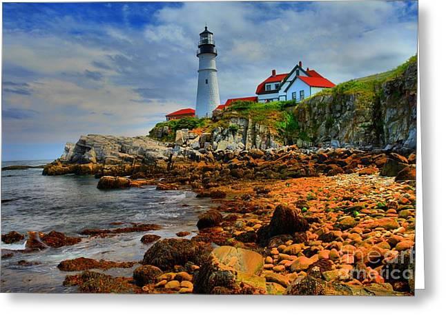 Maine Lighthouses Greeting Cards - Portland Headlight Greeting Card by Adam Jewell