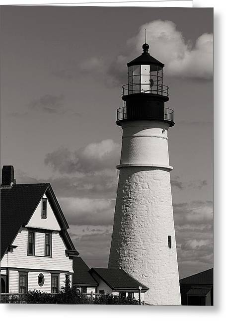 Maine Lighthouses Greeting Cards - Portland Lighthouse Greeting Card by Cindi Ressler