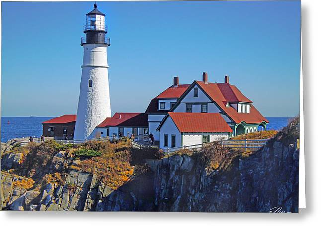 Maine Lighthouses Greeting Cards - Portland Lighthouse Greeting Card by Nancy Griswold