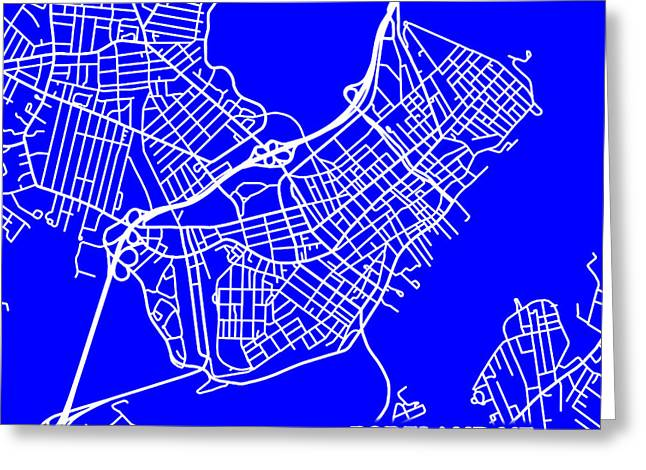Geographical Locations Greeting Cards - Portland Maine City Map Streets Art Print   Greeting Card by Keith Webber Jr