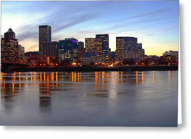 City Lights Greeting Cards - Portland Oregon panorama at dusk. Greeting Card by Gino Rigucci