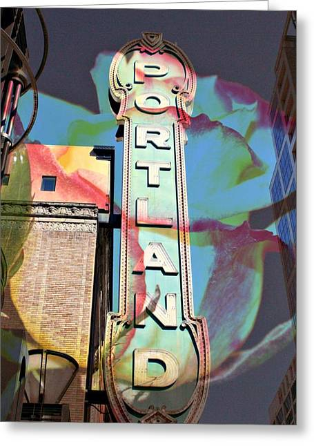 Layered Digital Art Greeting Cards - Portland Sign Greeting Card by Cathie Tyler
