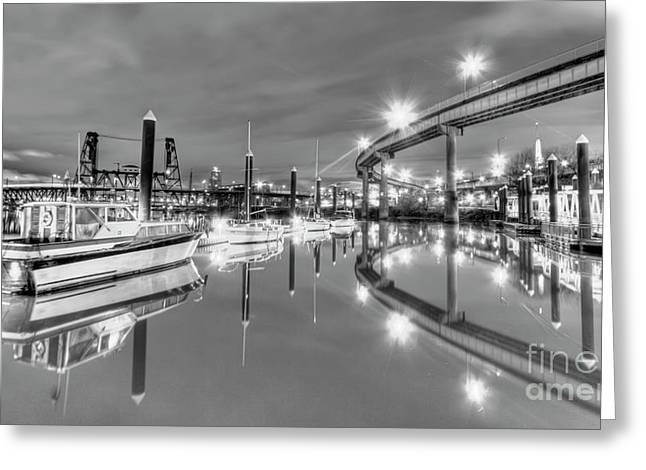 Portland Greeting Cards - Portland Waterfront Overpass and Boats Greeting Card by Dustin K Ryan