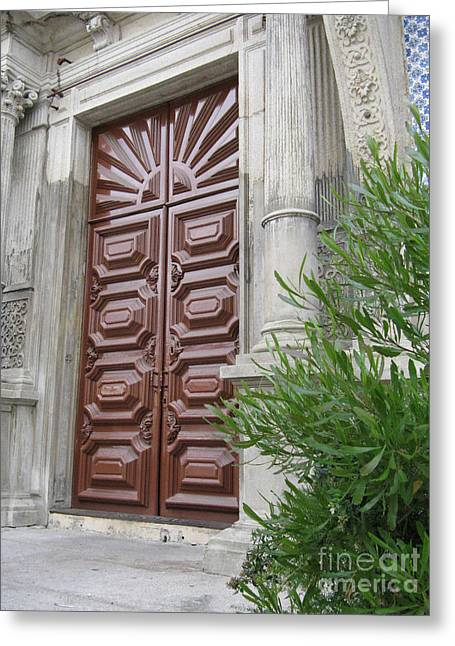 Gaia Greeting Cards - Porto Door Greeting Card by Arlene Carmel