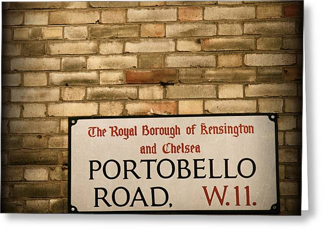 Elite Image Photography By Chad Mcdermott Greeting Cards - Portobello Road Sign on a Grunge Brick Wall in London England Greeting Card by ELITE IMAGE photography By Chad McDermott