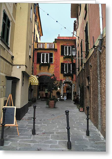 Portofino Italy Mixed Media Greeting Cards - Portofino Alley Greeting Card by Paul Barlo