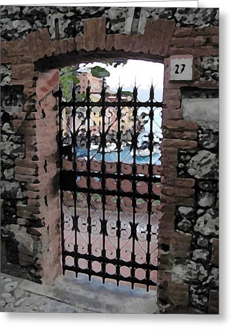 Portofino Italy Mixed Media Greeting Cards - Portofino Gate Greeting Card by Paul Barlo