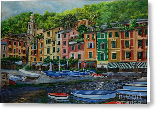 Portofino Harbor Greeting Card by Charlotte Blanchard