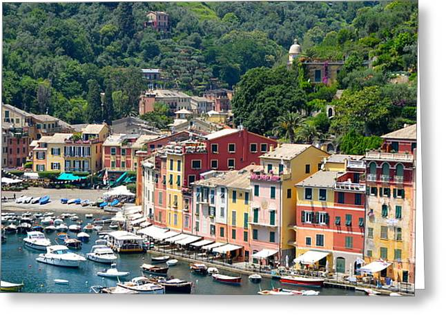 Portofino Italy Greeting Cards - Portofino Harbor Greeting Card by Corinne Rhode
