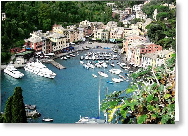 Portofino Italy Mixed Media Greeting Cards - Portofino Harbor Greeting Card by Paul Barlo