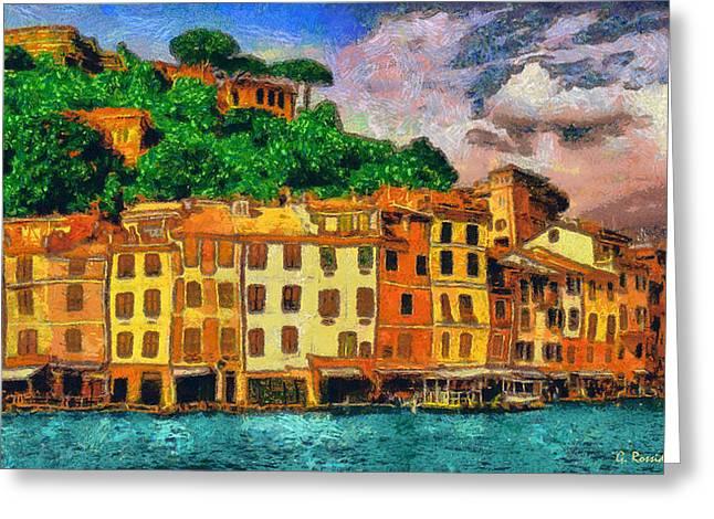 Portofino Italy Paintings Greeting Cards - Portofino II Greeting Card by George Rossidis