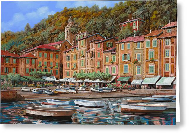 Green Hills Greeting Cards - Portofino-La Piazzetta e le barche Greeting Card by Guido Borelli