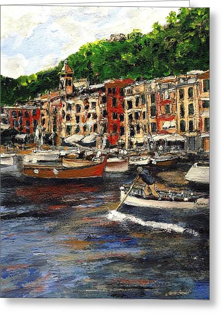 Portofino Italy Mixed Media Greeting Cards - Portofino Late October Greeting Card by Randy Sprout