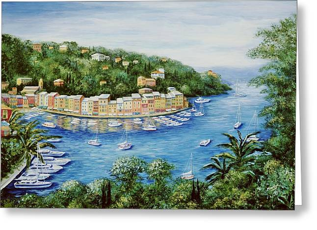 Portofino Italy Art Greeting Cards - Portofino Majestic Panoramic View Greeting Card by Marilyn Dunlap