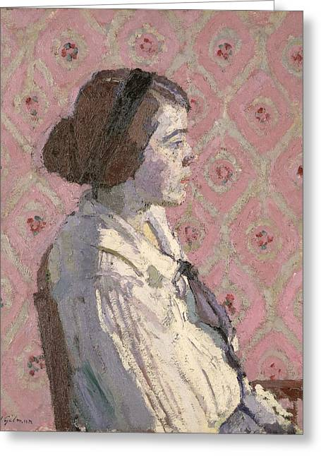 1876 Greeting Cards - Portrait in Profile Greeting Card by Harold Gilman