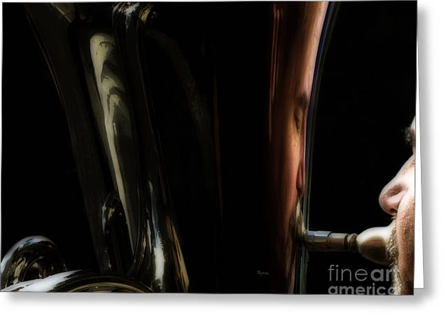 Tubist Greeting Cards - Portrait in Tuba Greeting Card by Steven  Digman