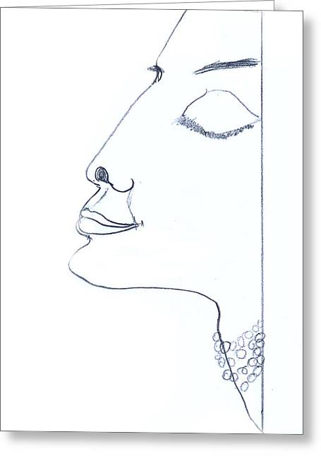 Cubist Drawings Greeting Cards - Portrait Greeting Card by Isabela Gribincea