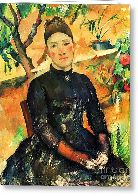 Still Life With Pitcher Paintings Greeting Cards - Portrait Madame Cezanne Greeting Card by Pg Reproductions