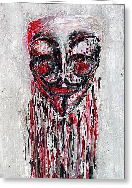 Best Sellers -  - Occupy Greeting Cards - Portrait Melting of Anonymous Mask chan wikileak occupy guy fawkes sopa mpaa pirate lulz reddit Greeting Card by M Zimmerman MendyZ