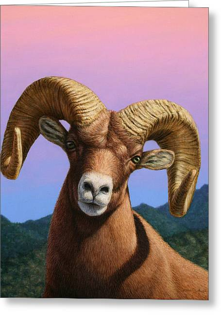 James Paintings Greeting Cards - Portrait of a Bighorn Greeting Card by James W Johnson