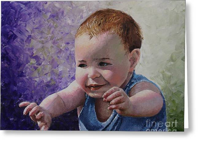 Pallet Knife Greeting Cards - Portrait of a Boy - Catch me Greeting Card by Tatjana Popovska