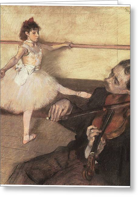 Ballet Dancers Greeting Cards - Portrait of a Dancer at her Lesson Greeting Card by Edgar Degas
