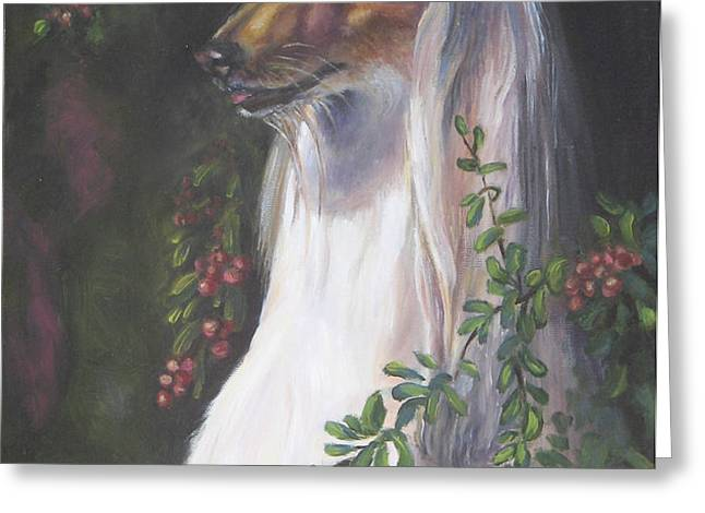 Portrait of a Domino Afghan Hound Greeting Card by Gayle Rene