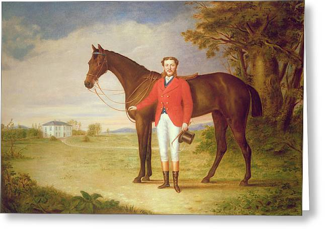 Building. Home Greeting Cards - Portrait of a gentleman with his horse Greeting Card by English School