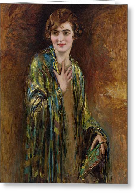 Flapper Greeting Cards - Portrait of a girl with a green shawl Greeting Card by Isaac Cohen