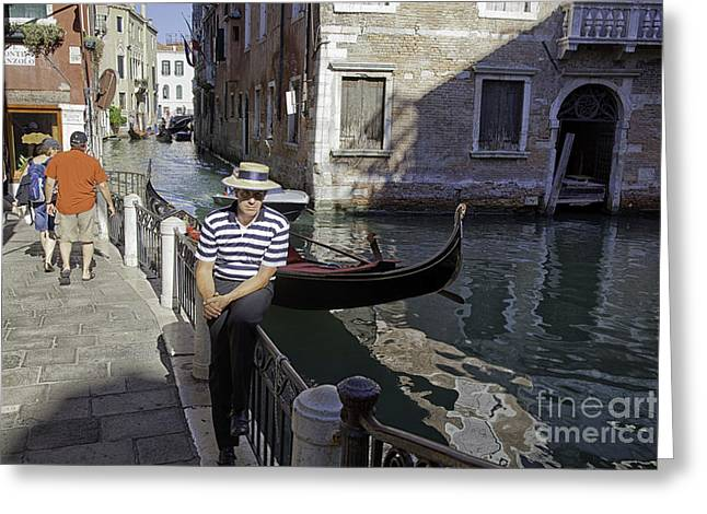 Gondolier Greeting Cards - Portrait of a Gondolier in Venice Greeting Card by Madeline Ellis