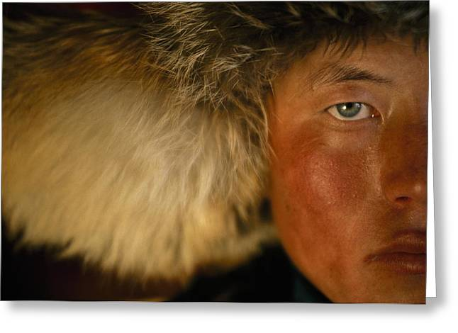 Chinese Portrait Greeting Cards - Portrait Of A Kazakh Hunter Greeting Card by David Edwards